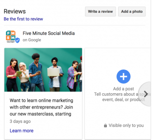 How To Post On Google Business Pages: Google Business Post example from Five Minute Social Media